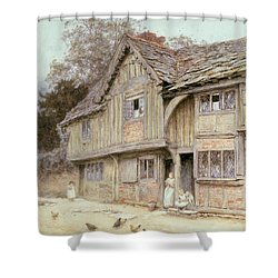 Outside A Timbered Cottage Shower Curtain by Helen Allingham