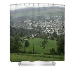 Ovehead View Of Houses From The Gondola Starting At Kriens In Switzerland Shower Curtain by Ashish Agarwal