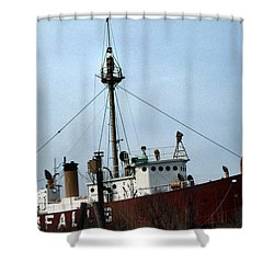 Overfalls Lightship Shower Curtain by Skip Willits