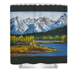 Oxbow-grand Tetons  Shower Curtain