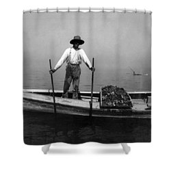 Oyster Fishing On The Chesapeake Bay - Maryland - C 1905 Shower Curtain by International  Images