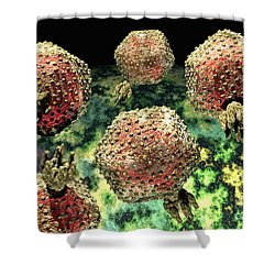 P22 Bacteriophages Shower Curtain by Russell Kightley