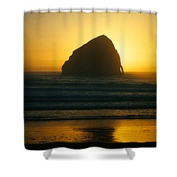 Shower Curtain featuring the photograph Pacific City Sunset by Chriss Pagani