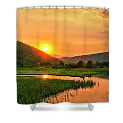 Shower Curtain featuring the photograph Pack River Delta Sunset by Albert Seger