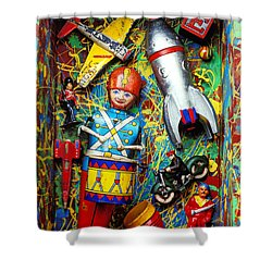 Painted Box Full Of Old Toys Shower Curtain by Garry Gay