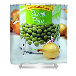 Painting Sweet Peas Poster Shower Curtain by Paul Ge