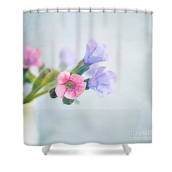Pale Pink And Purple Pulmonaria Flowers Shower Curtain by Lyn Randle