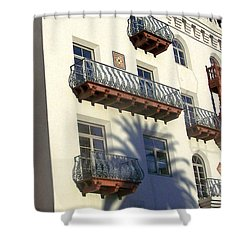 Palm Tree Shadow On The Wall Shower Curtain by Patricia Taylor
