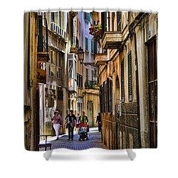 Palma Mallorca Street Scene Shower Curtain by David Smith