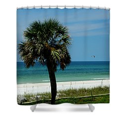 Palmetto And The Beach Shower Curtain by Susanne Van Hulst