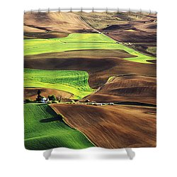 Palouse Farm Country Shower Curtain by Dennis Flaherty and Photo Researchers