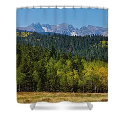 Panorama Scenic Autumn View Of The Colorado Indian Peaks Shower Curtain by James BO  Insogna