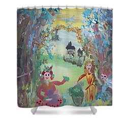 Shower Curtain featuring the painting Panto Time by Judith Desrosiers