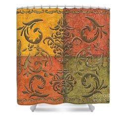 Paprika Scroll Shower Curtain by Debbie DeWitt