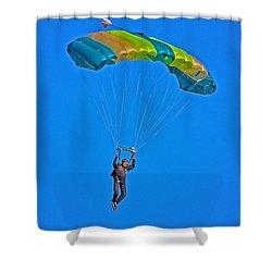 Parachuting Shower Curtain by Karol Livote