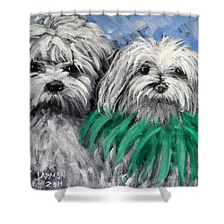 Parade Pups Shower Curtain by Jeanette Jarmon