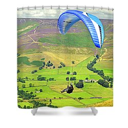Paragliding Off Mam Tor 01 Shower Curtain by Rod Johnson