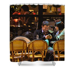 Paris At Night In The Cafe Shower Curtain by Mary Machare