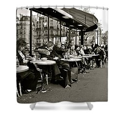 Shower Curtain featuring the photograph Paris Cafe by Eric Tressler