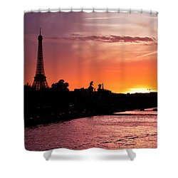 Paris Sunset Shower Curtain by Mircea Costina Photography