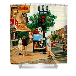Park Avenue And Bernard Montreal City Scene Shower Curtain by Carole Spandau