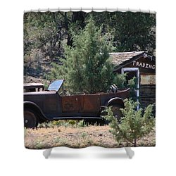 Shower Curtain featuring the photograph Parked At The Trading Post by Athena Mckinzie