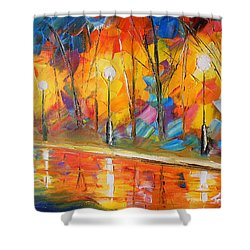Parkside Stroll Shower Curtain by Jessilyn Park