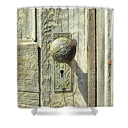 Shower Curtain featuring the photograph Patina Knob by Fran Riley