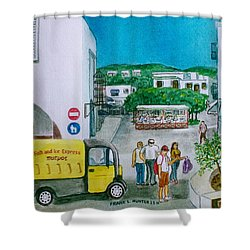 Patmos Fish Monger Shower Curtain by Frank Hunter