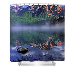 Patricia Lake Banff Canada Shower Curtain by Dave Mills