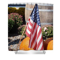 Patriotic Farm Stand Shower Curtain by Kimberly Perry