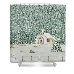 Peace In The Mountains Shower Curtain by Mary Ann King