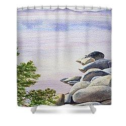 Peaceful Place Morning At The Lake Shower Curtain by Irina Sztukowski