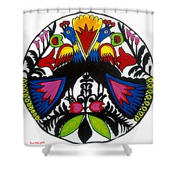 Peacock Tree Polish Folk Art Shower Curtain by Ania M Milo