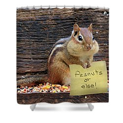 Peanuts Or Else Shower Curtain by Lori Deiter