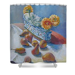 Pears And Antique Shower Curtain by Vanessa Hadady BFA MA