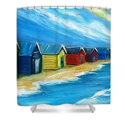 Peninsular Boatsheds Shower Curtain by Therese Alcorn