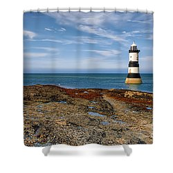 Penmon Point Lighthouse Shower Curtain by Adrian Evans