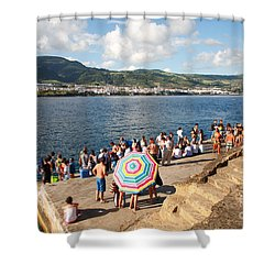 People Waiting At The Islet Shower Curtain by Gaspar Avila