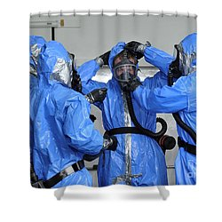 Personnel Dressed In Hazmat Suits Shower Curtain by Stocktrek Images