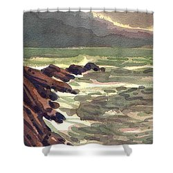 Shower Curtain featuring the painting Pescadero Rocks by Donald Maier