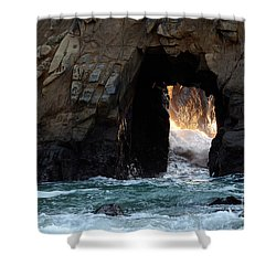 Pfeiffer Rock Big Sur Shower Curtain by Bob Christopher
