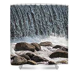 Shower Curtain featuring the photograph Phelps Mill Dam by Penny Meyers