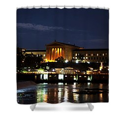 Philadelphia Art Museum And Waterworks All Lit Up Shower Curtain by Bill Cannon
