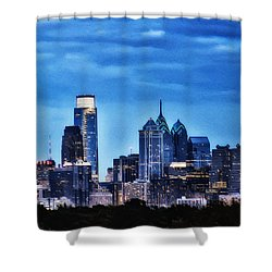 Philadelphia At Night Shower Curtain by Bill Cannon