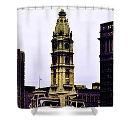 Philadelphia City Hall Tower Shower Curtain by Bill Cannon
