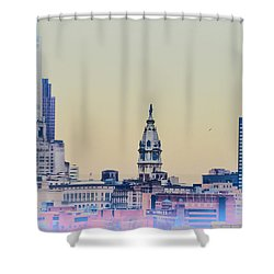 Philadelphia From South Camden Shower Curtain by Bill Cannon