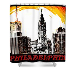Philadelphia Poster Shower Curtain by Bill Cannon