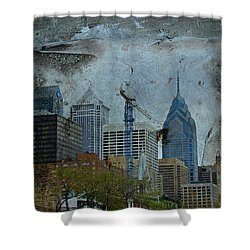 Philadelphia Skyline Shower Curtain by Mother Nature