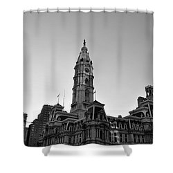 Philadelphias City Hall In Black And White Shower Curtain by Bill Cannon